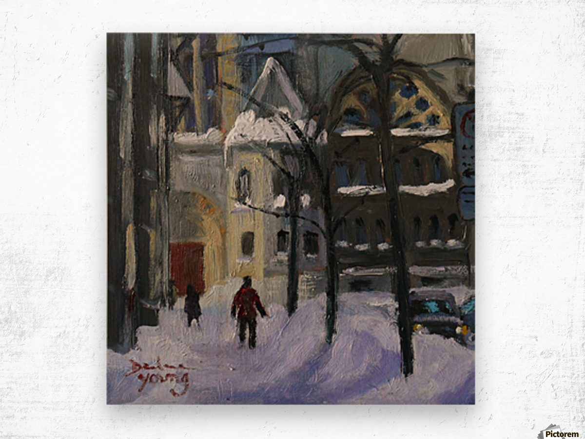 Montreal Downtown Scene, Drummond Winter Wood print