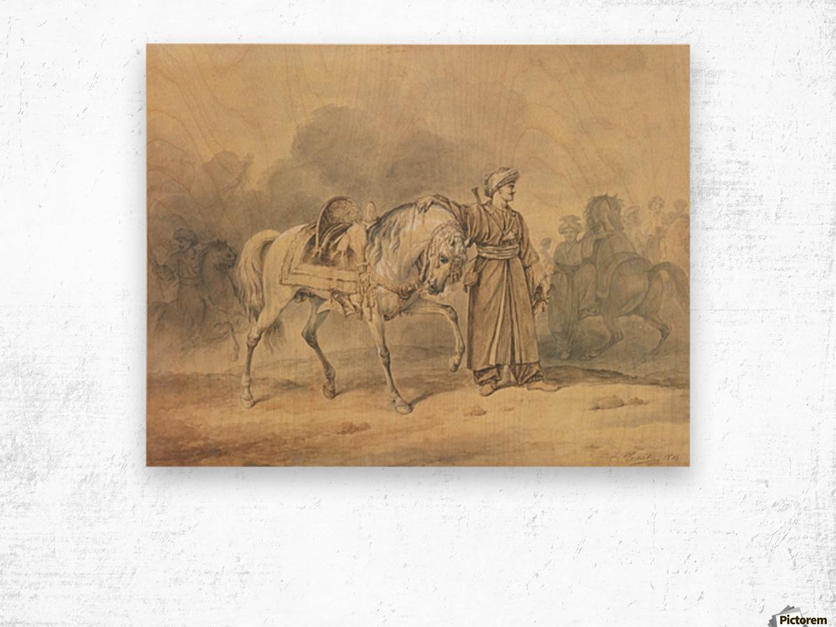 A Mameluk leading his horse Wood print