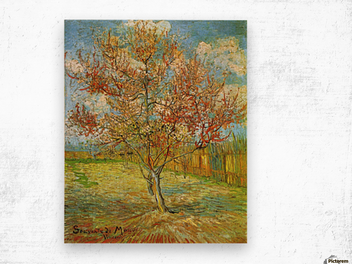 Pink Peach Tree in Blossom Reminiscence of Mauve by Van Gogh Wood print