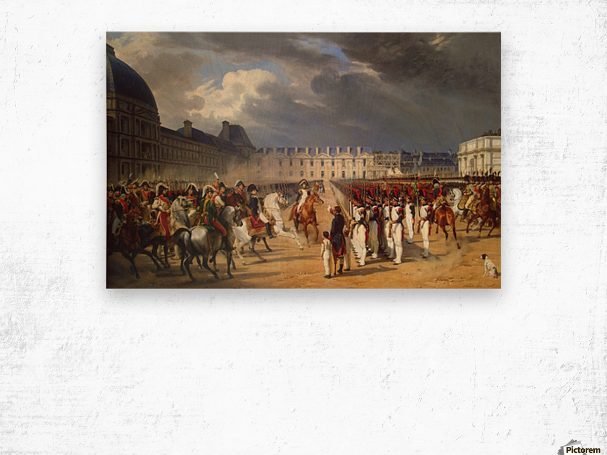 An Invalid Submitting a Petition to Napoleon at a Parade in the Courtyard of the Tuileries Palace 1838 Wood print
