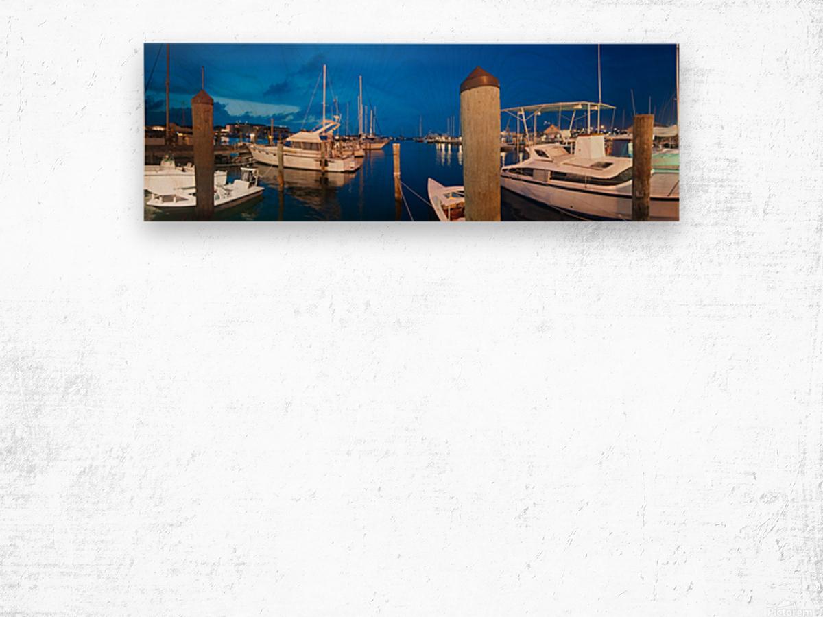 Key West Marina at Dusk Wood print