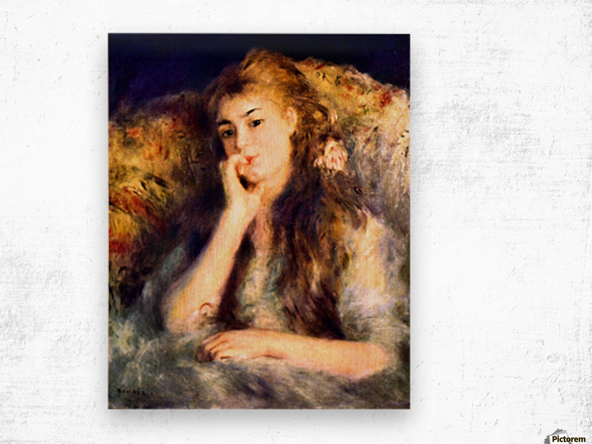 Portrait of a girl in thoughts by Renoir Wood print