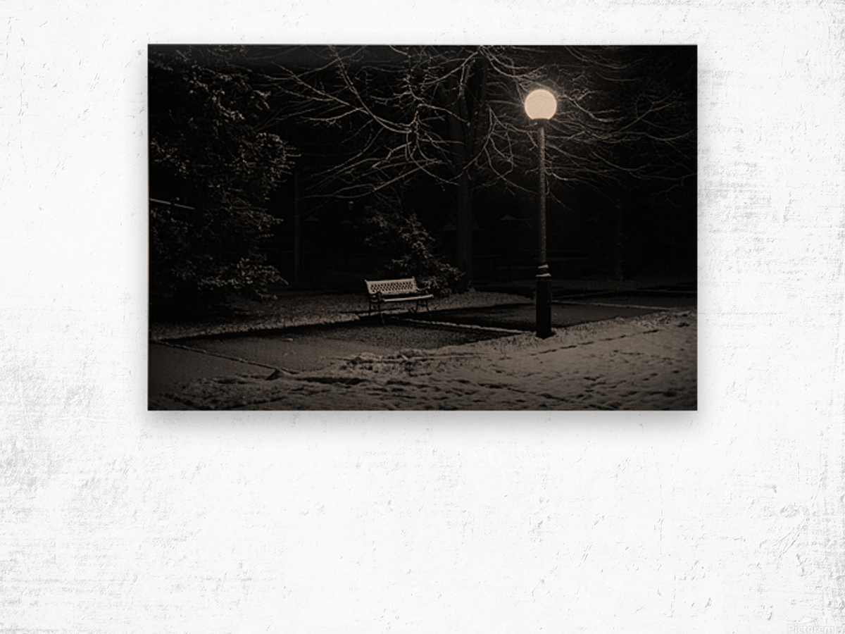 Winter night Wood print