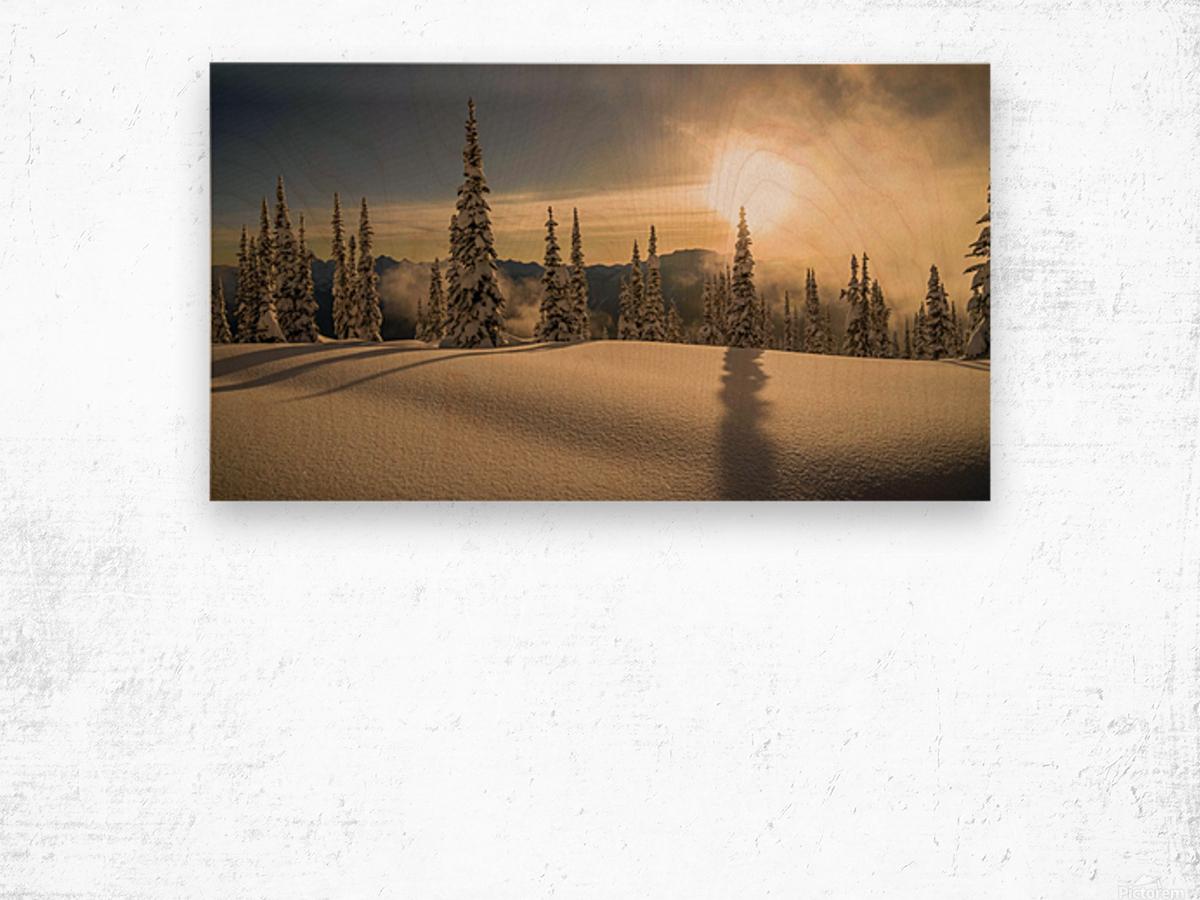 Trout lake BC Alpine sunset Wood print