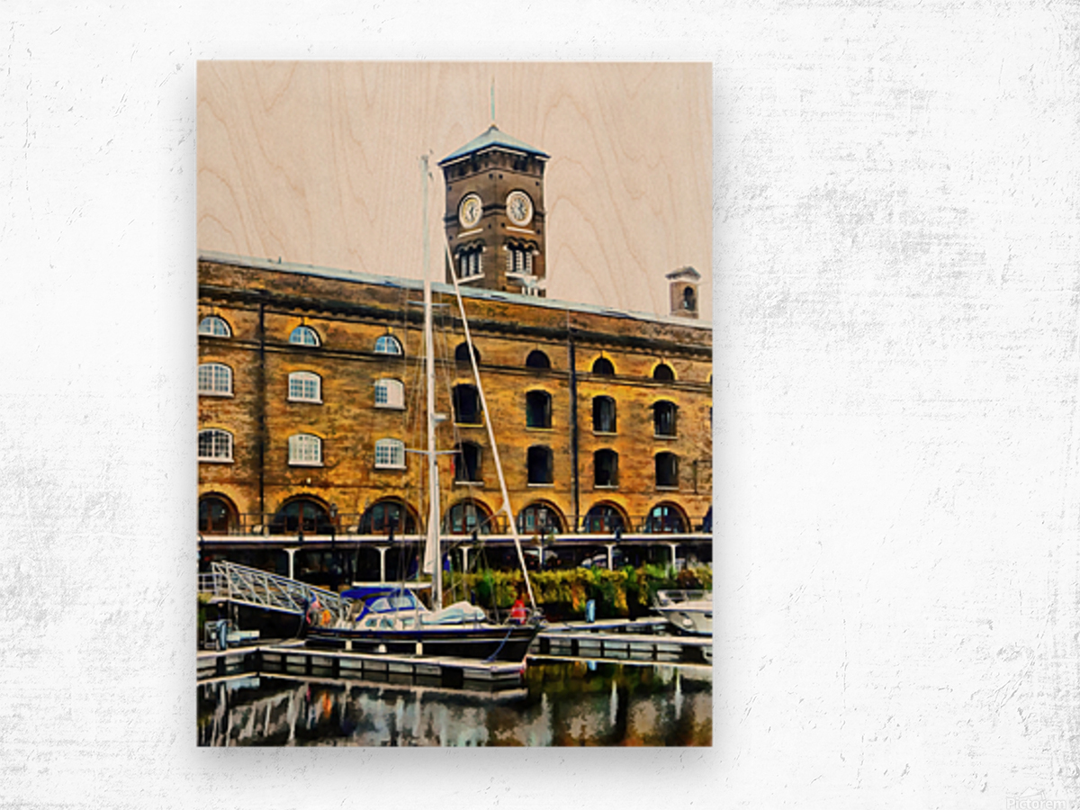 Boats in Front of Clock Tower St Katharine Docks Wood print