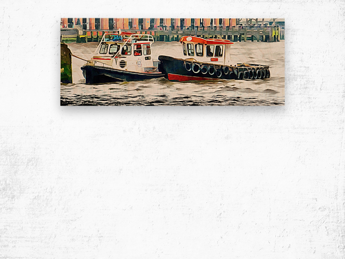 Two Boats Tied Up On The River Thames London Wood print
