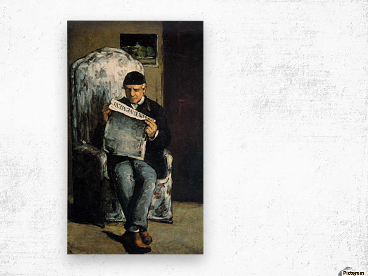 Portrait of Louis-Auguste Cezanne, the father of the artist, reading from L Evenement by Cezanne Wood print