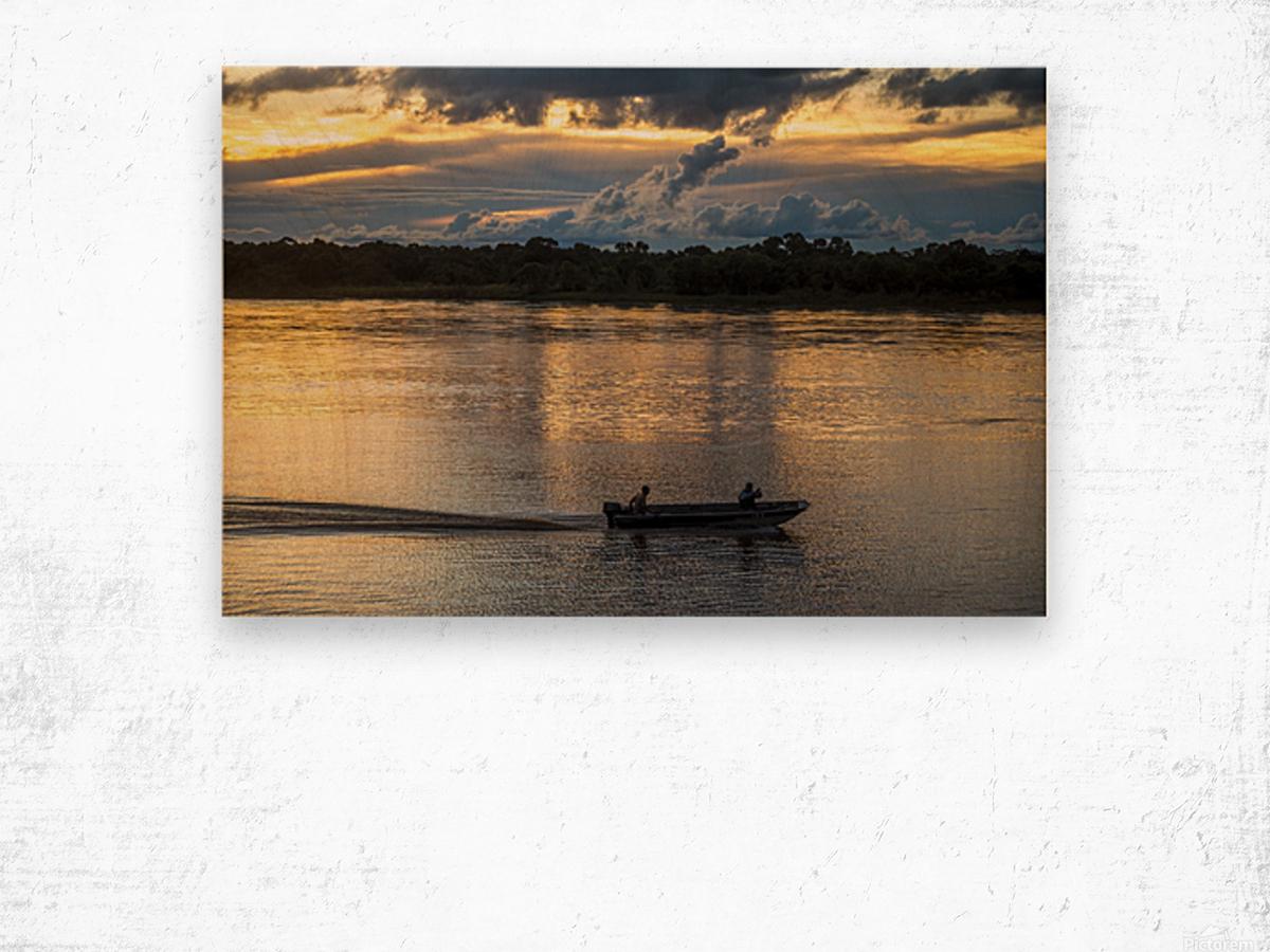 Araguaia River - Returning fishermen Wood print