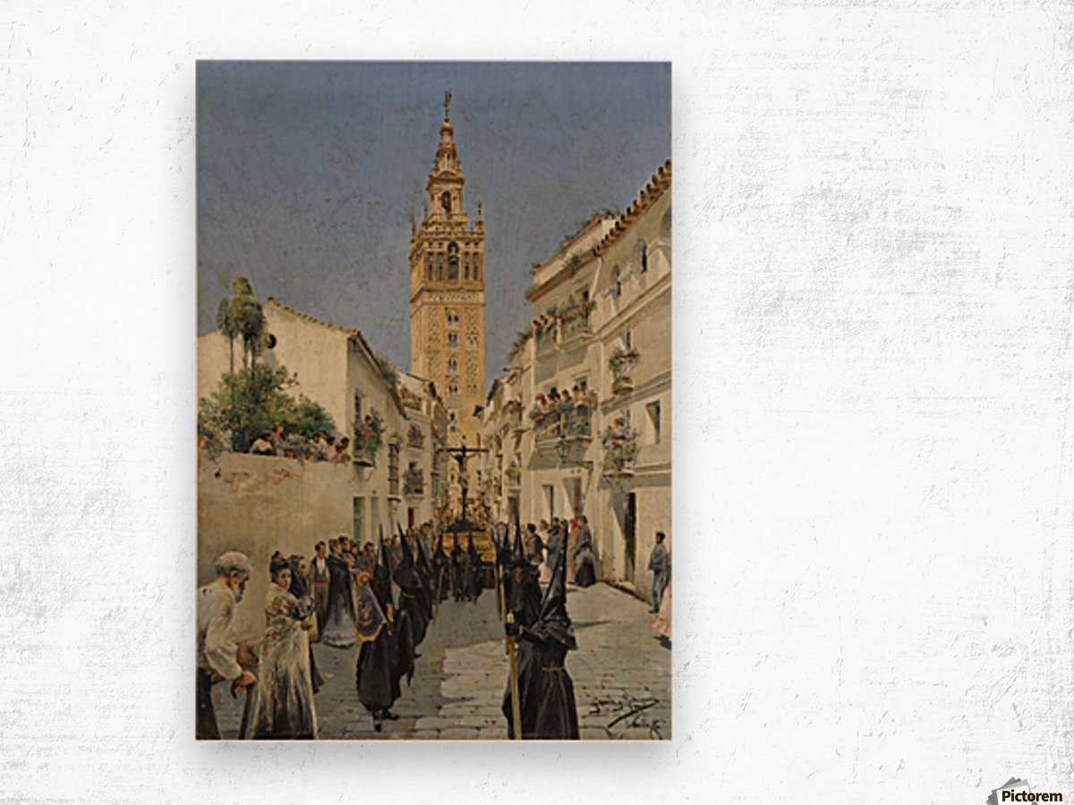 Easter Procession on Mateos Gago Street in Seville Wood print