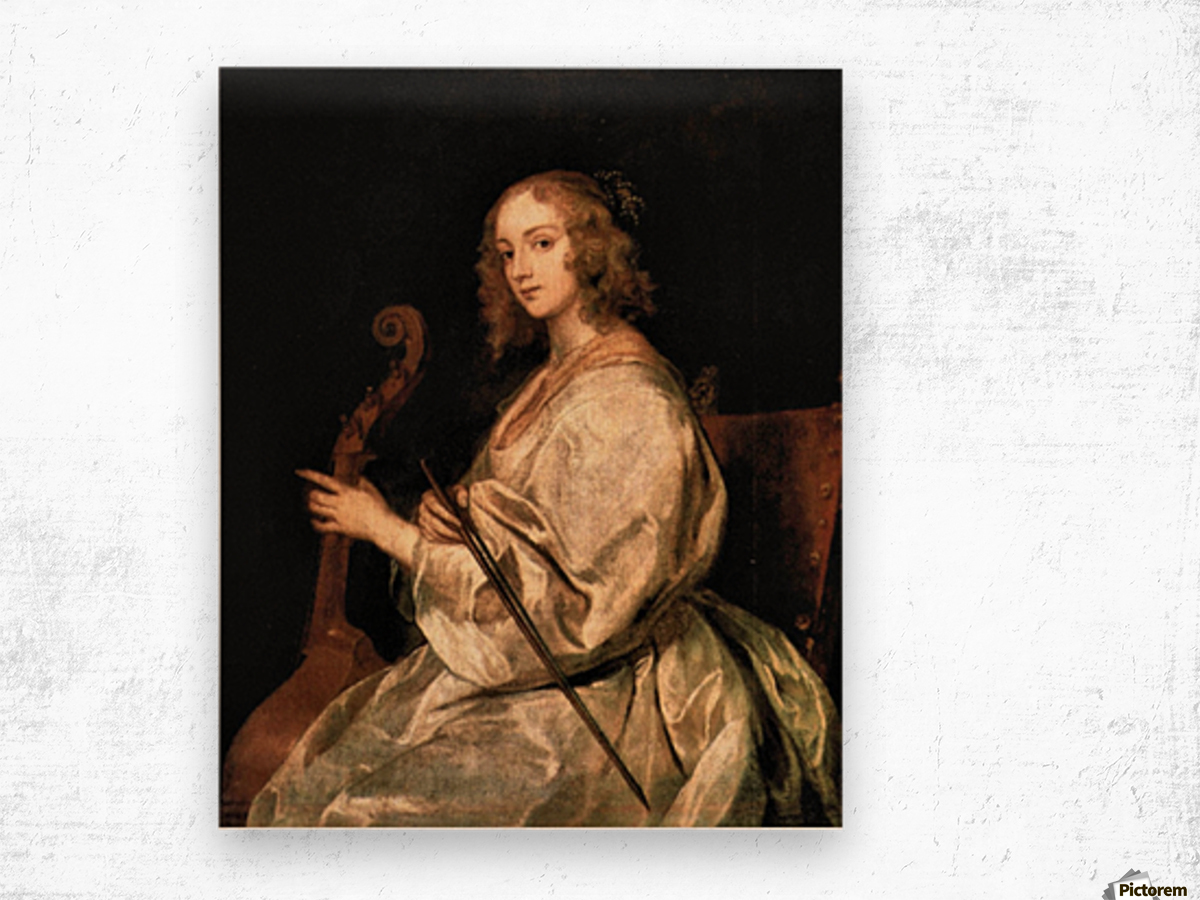 Portrait of Mary Ruthven, wife of the artist by Van Dyck Wood print