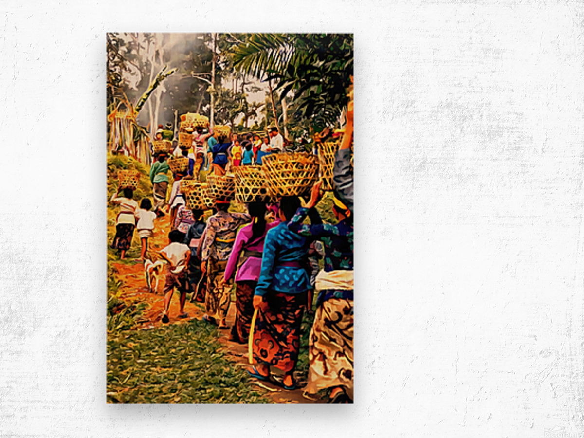 Funeral Feast Procession Bali Wood print