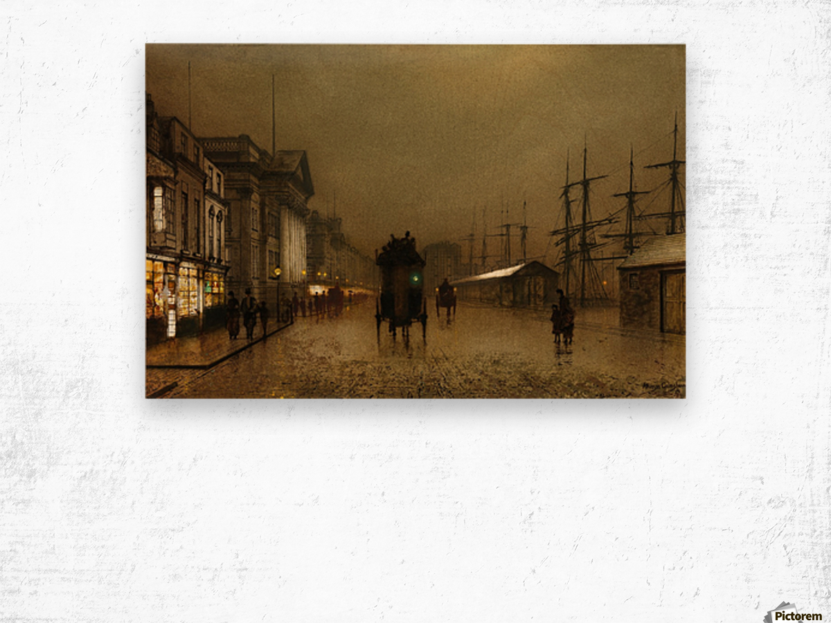 The Dockside Liverpool at Night Wood print