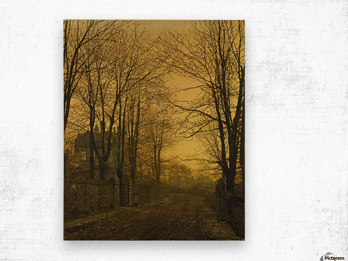 Autumn view with figure Wood print