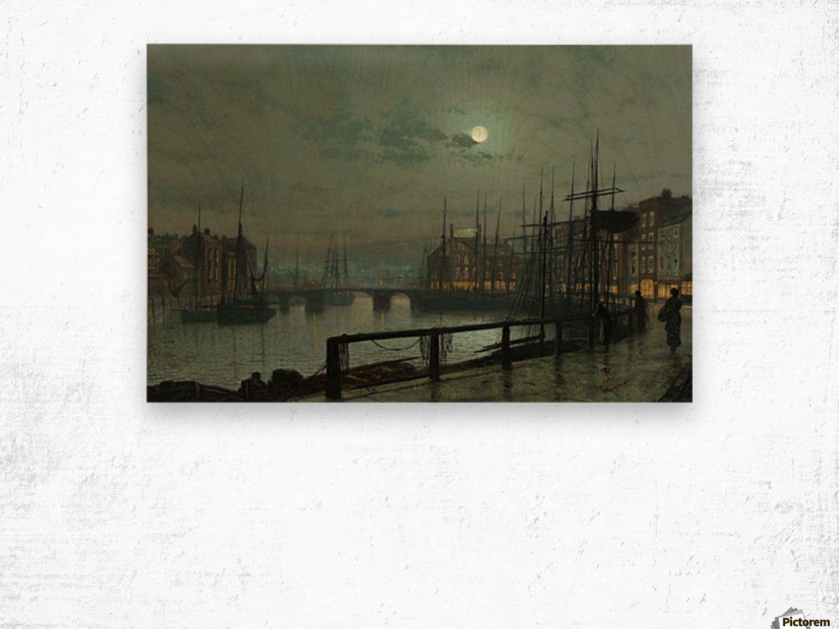 Whitby by moonlight Wood print