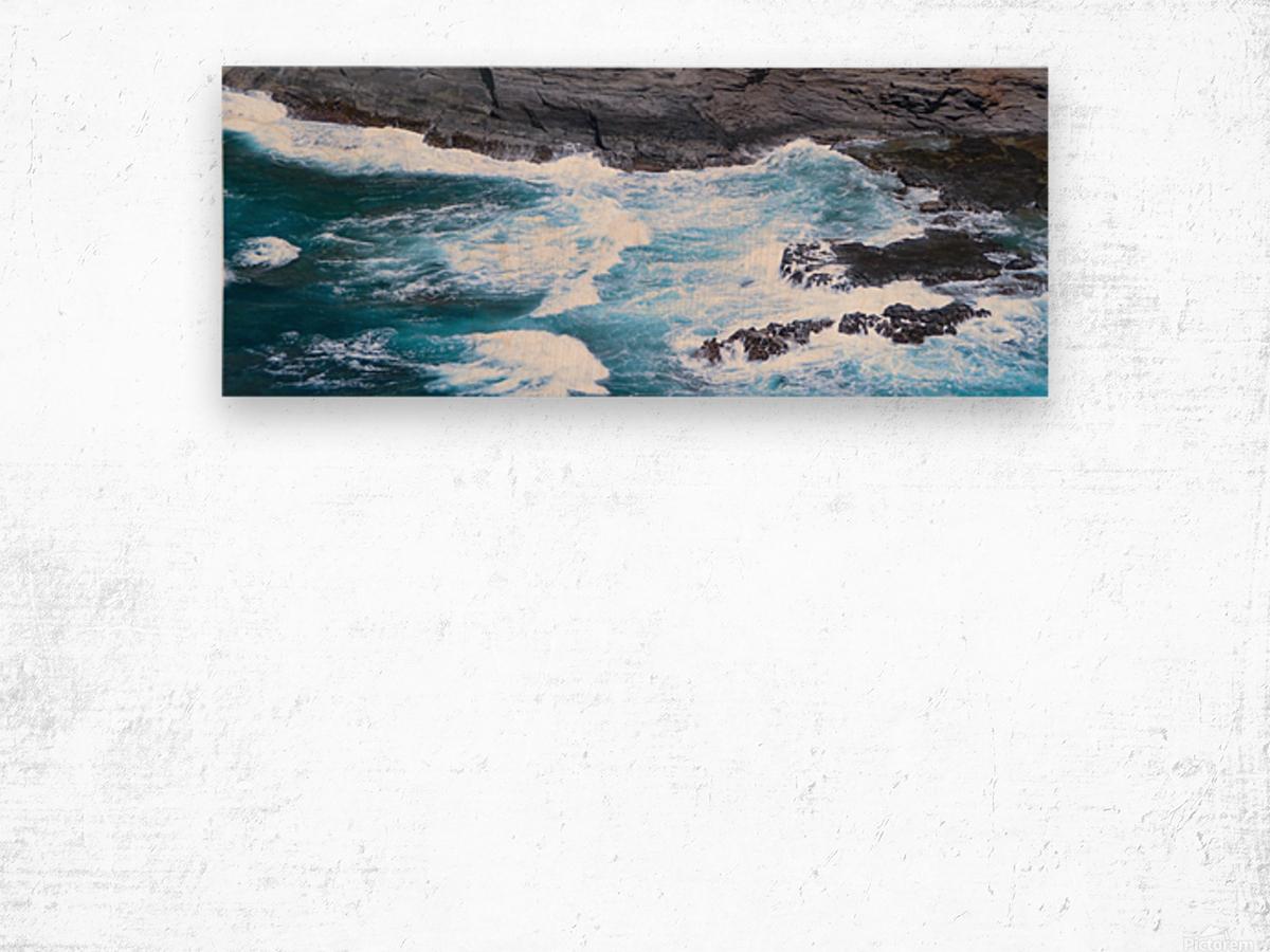 Swirling Blue Seas Wood print