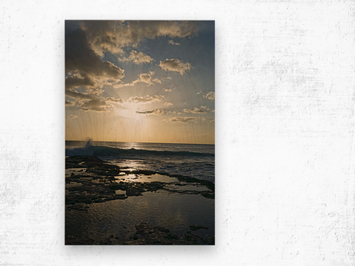 Softly Came the Night Over the Pacific Wood print