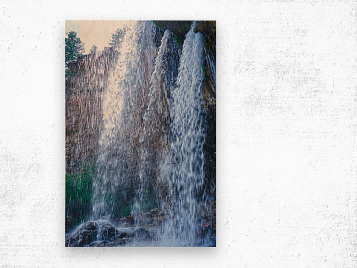 Standing in the Waterfalls Wood print
