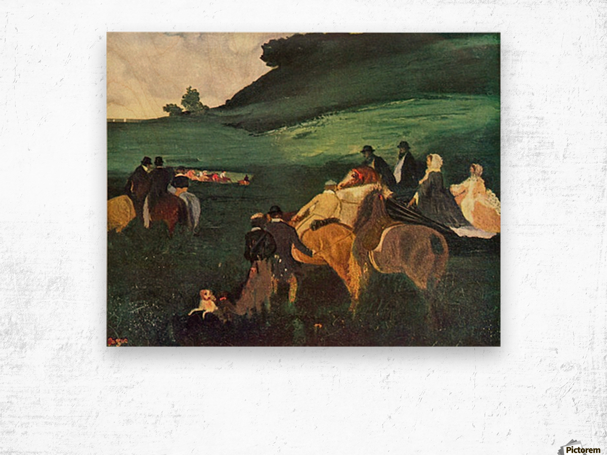 Riders in the  landscape by Degas Wood print