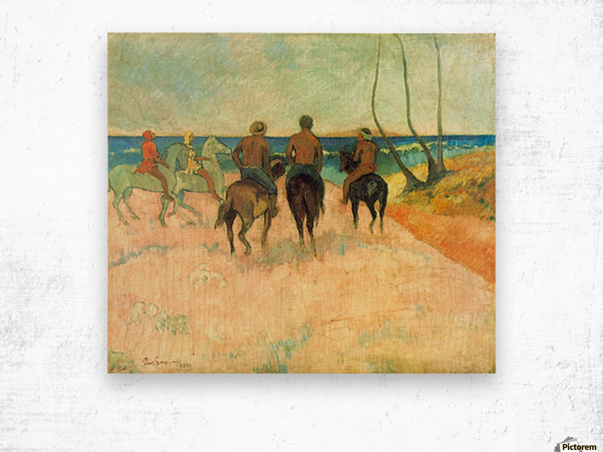 Riding on the Beach 2 by Gauguin Wood print
