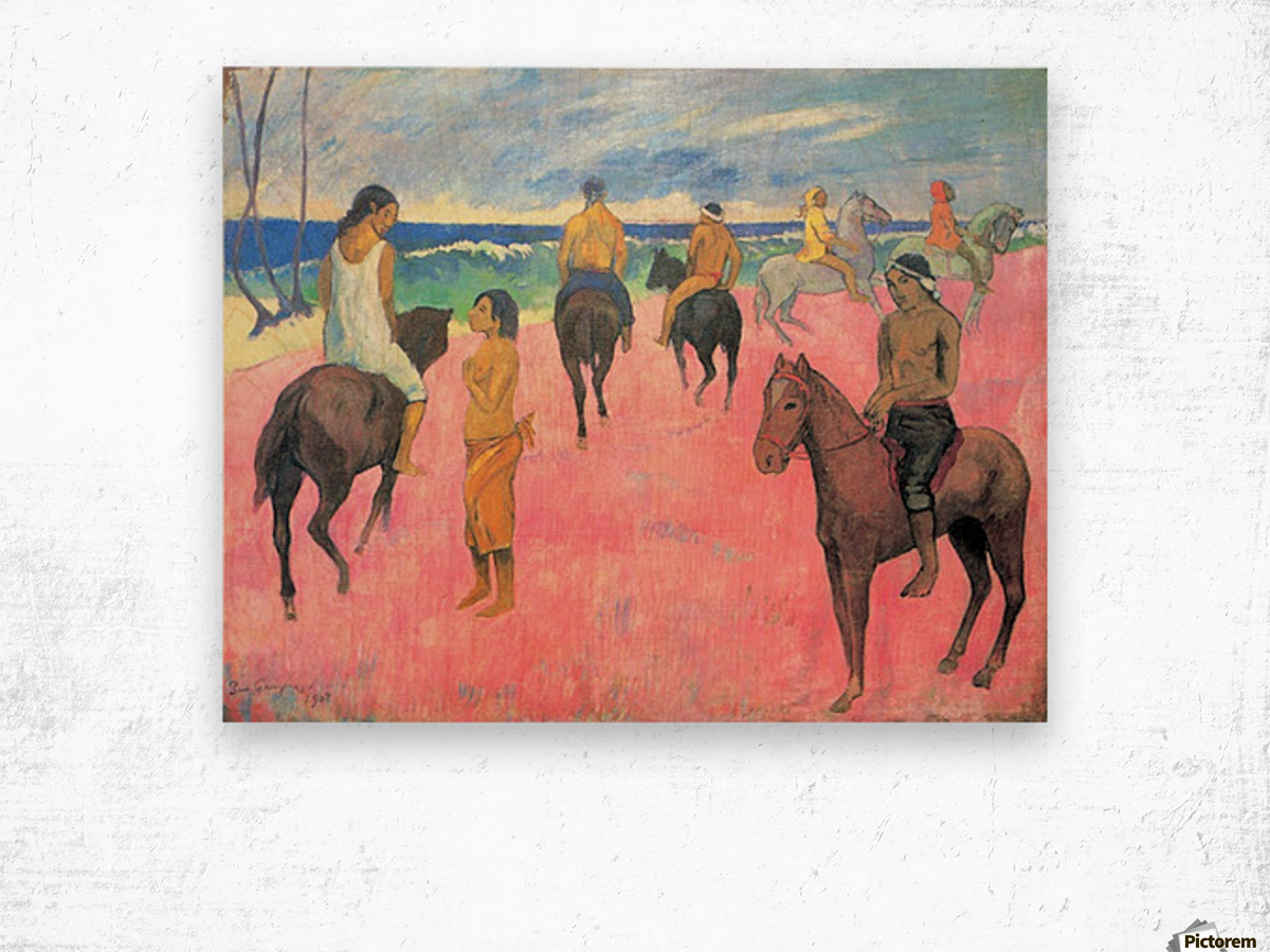 Riding on the beach by Gauguin Wood print