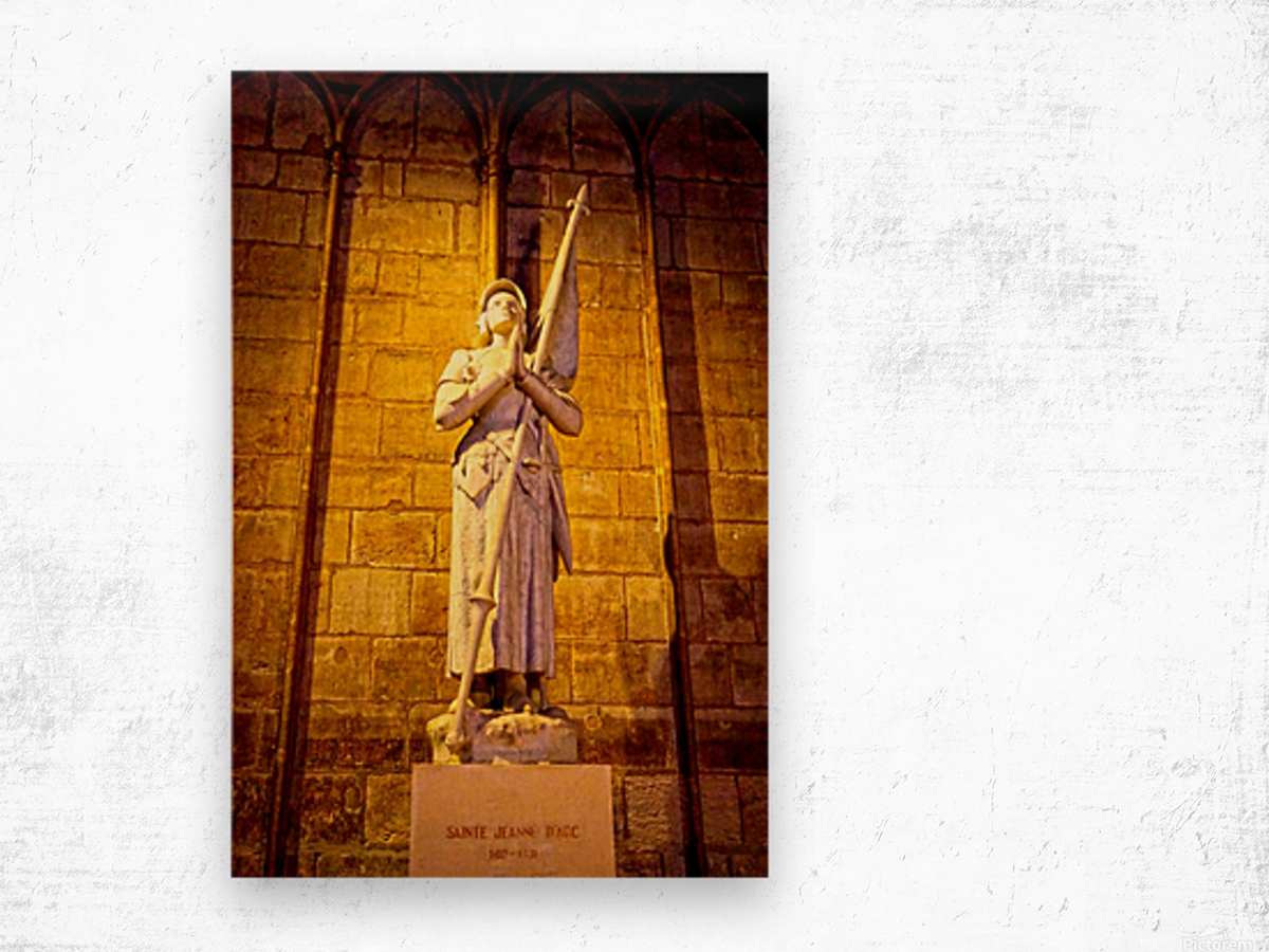 Jeanne d Arc and Saint Croix Cathedral at Orleans   France 4 of 7 Wood print
