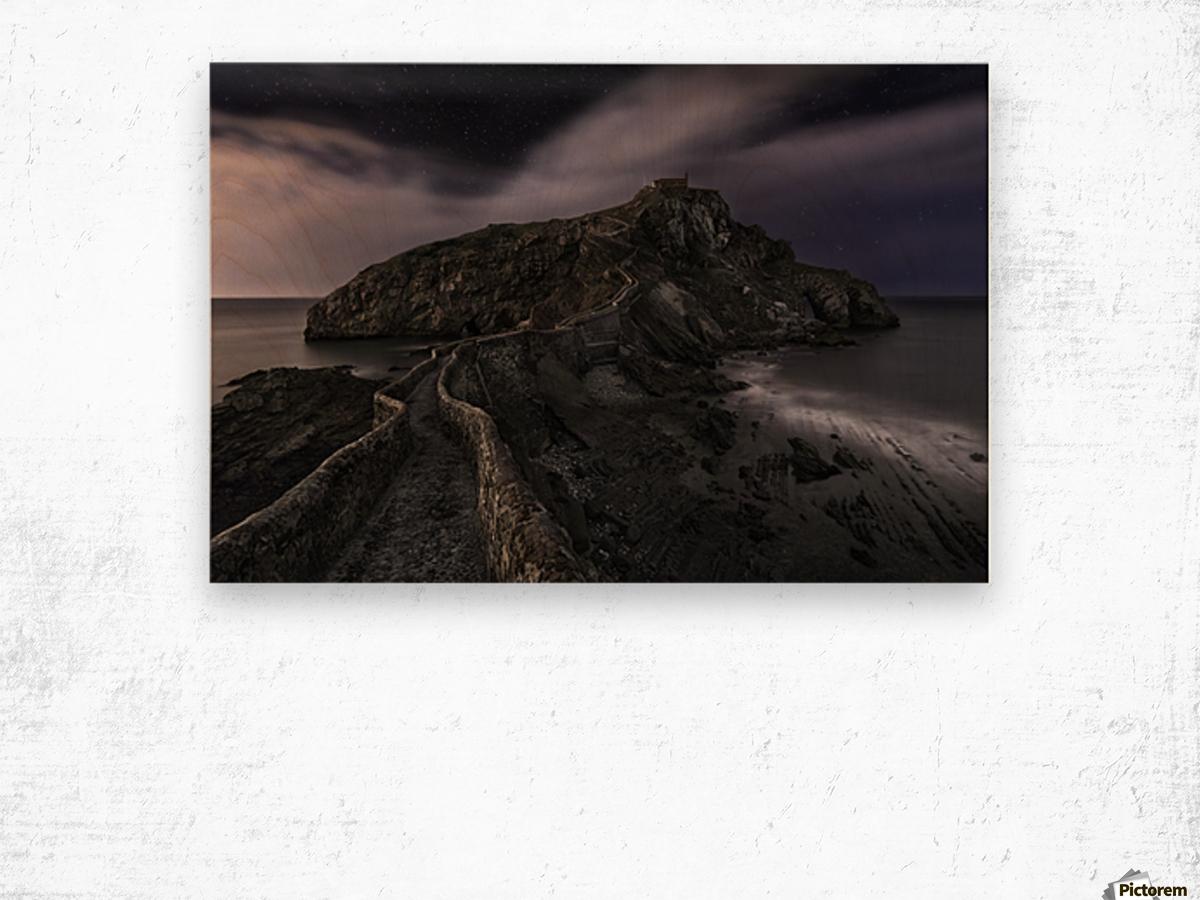 One Night in Gaztelugatxe by Fran Osuna  Wood print