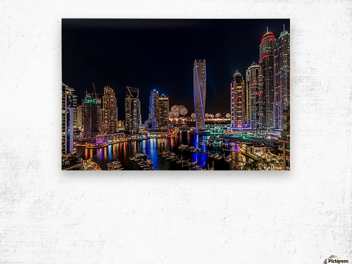Happy New Year Dubai Wood print