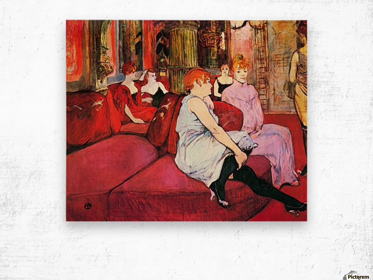 Salon in the Rue de Moulins by Toulouse-Lautrec Wood print