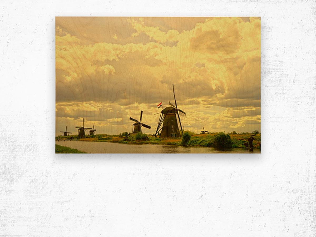Windmills at Sunset - Netherlands Wood print