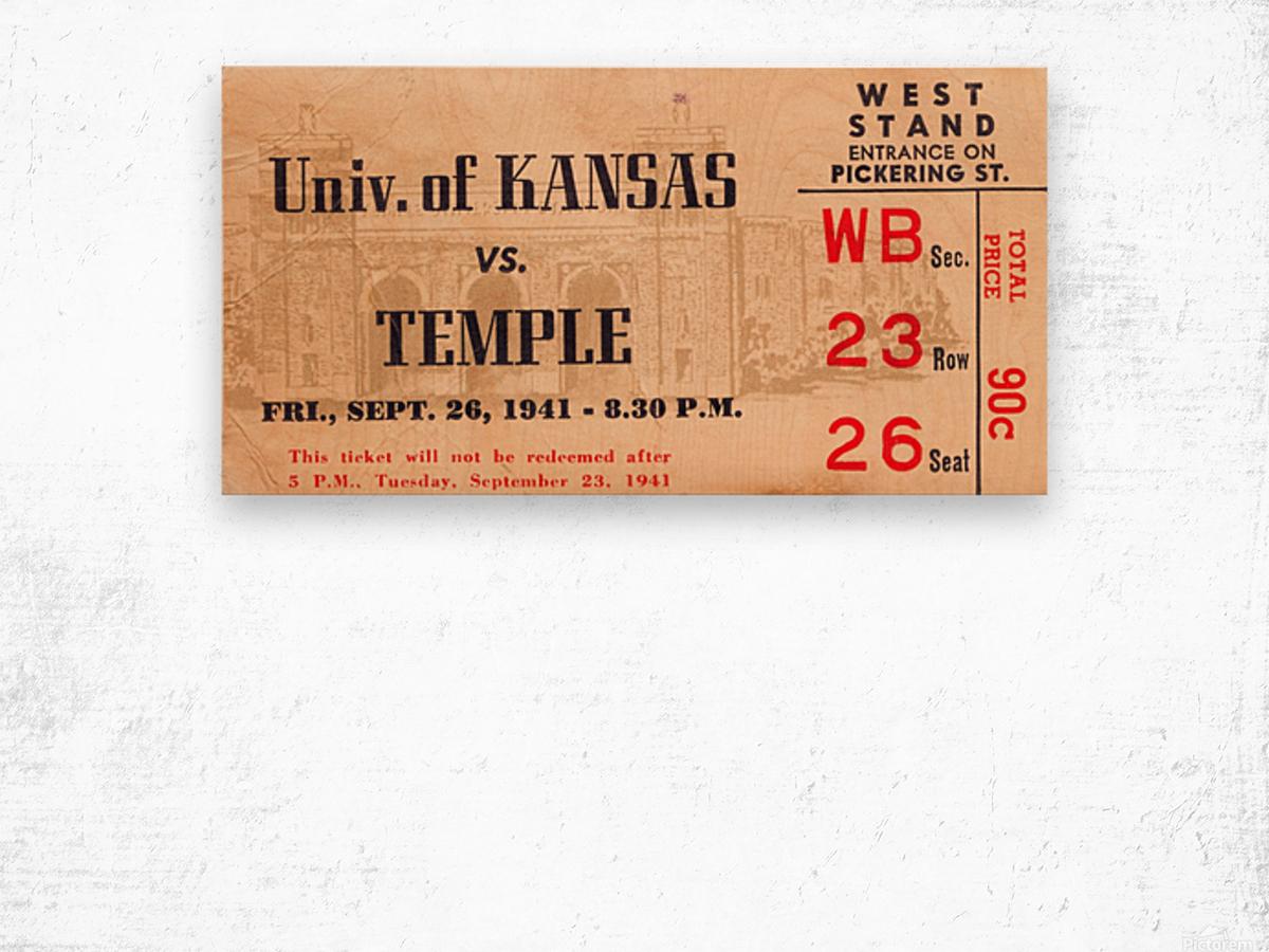 1941 Temple vs. Kansas Wood print