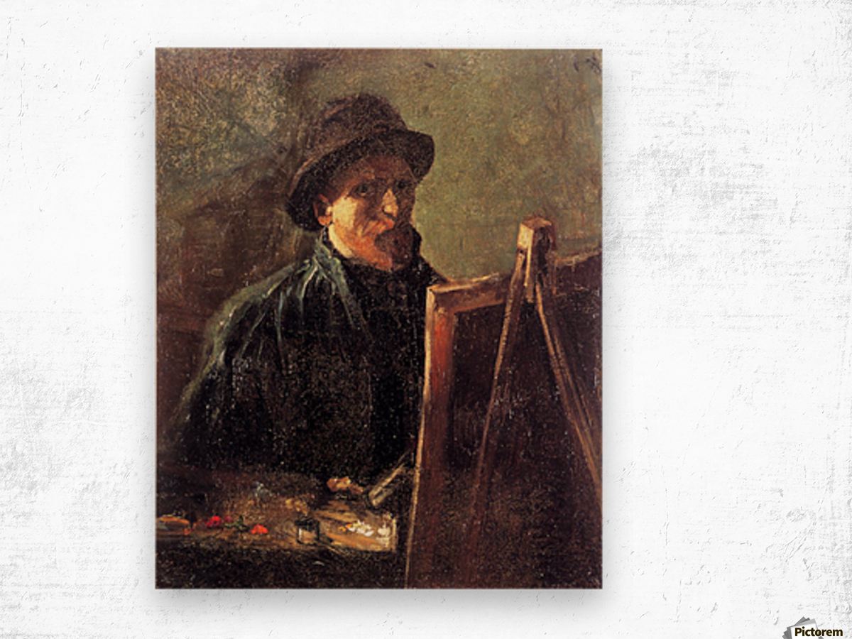 Self-Portrait with Dark Felt Hat at the Easel by Van Gogh Wood print