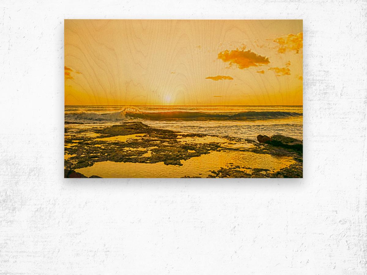 Golden Moment - Sunset Hawaiian Islands Wood print