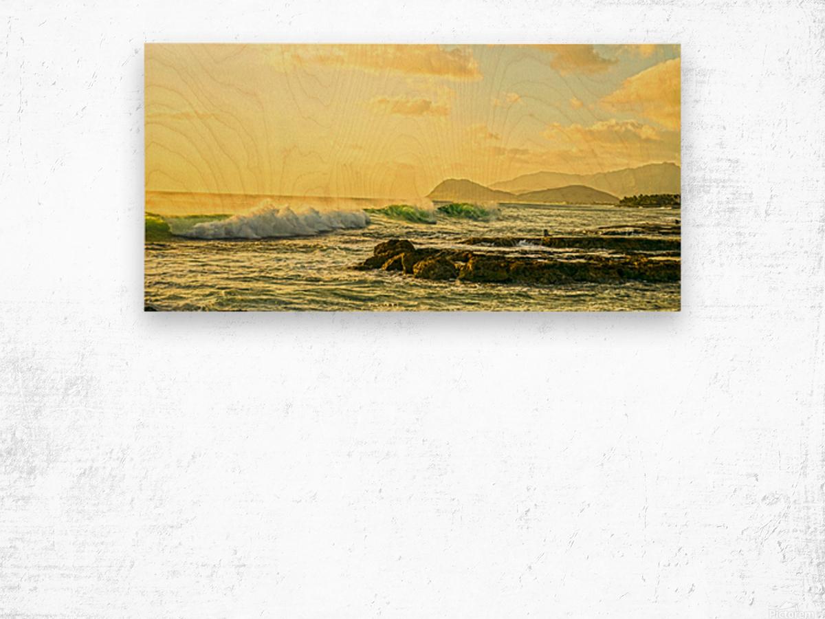 Perfect Day Panorama - Sunset Hawaiian Islands Wood print
