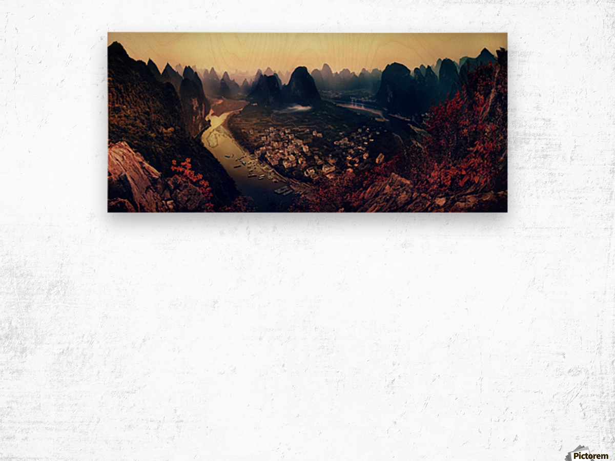 The Karst Mountains of Guangxi Wood print