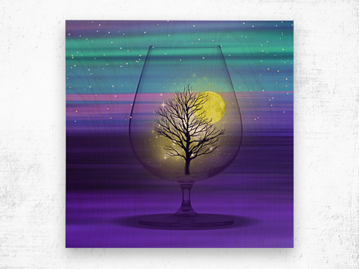 Landscape in a glass. Wood print