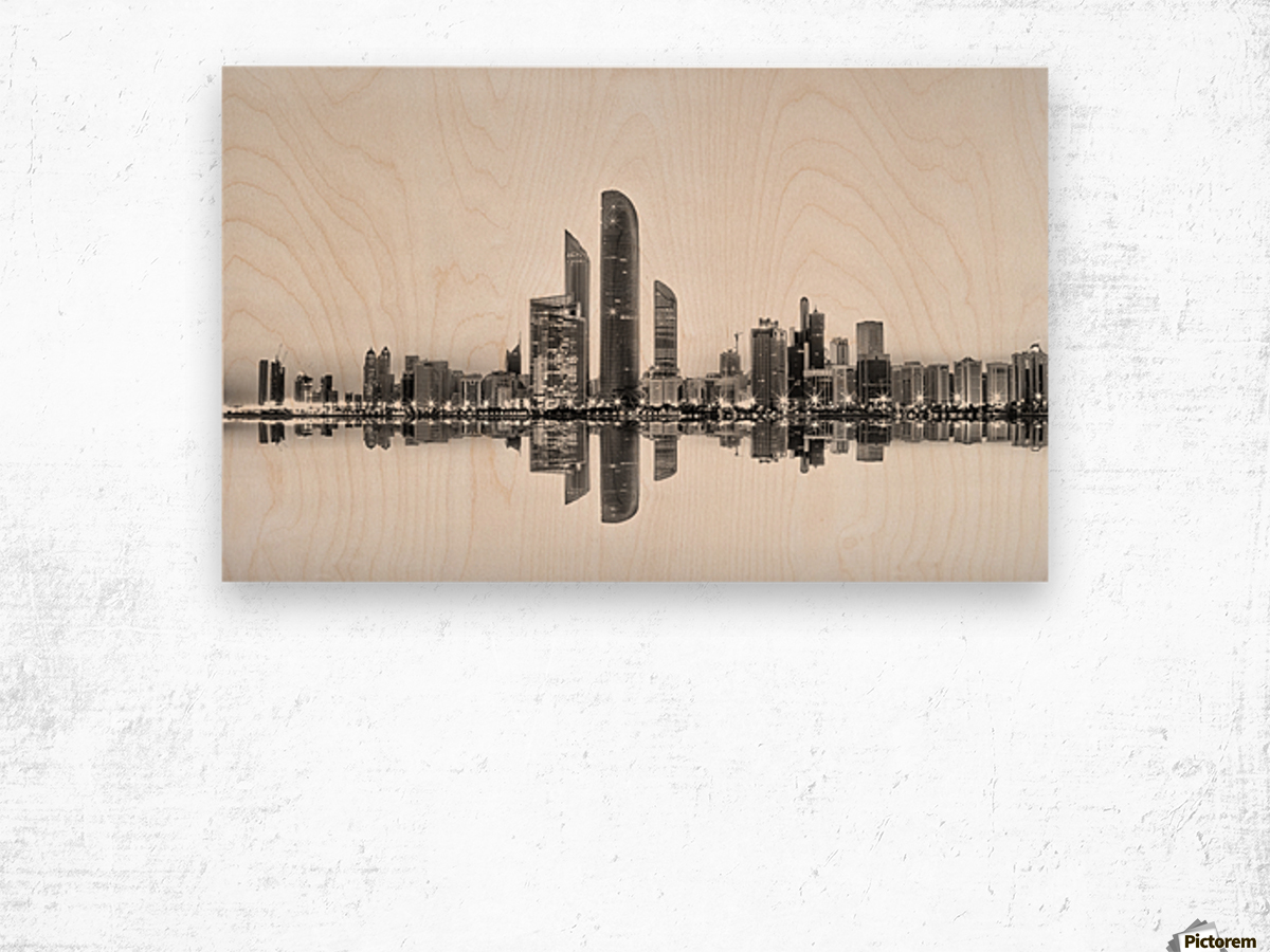 Abu Dhabi Urban Reflection Wood print