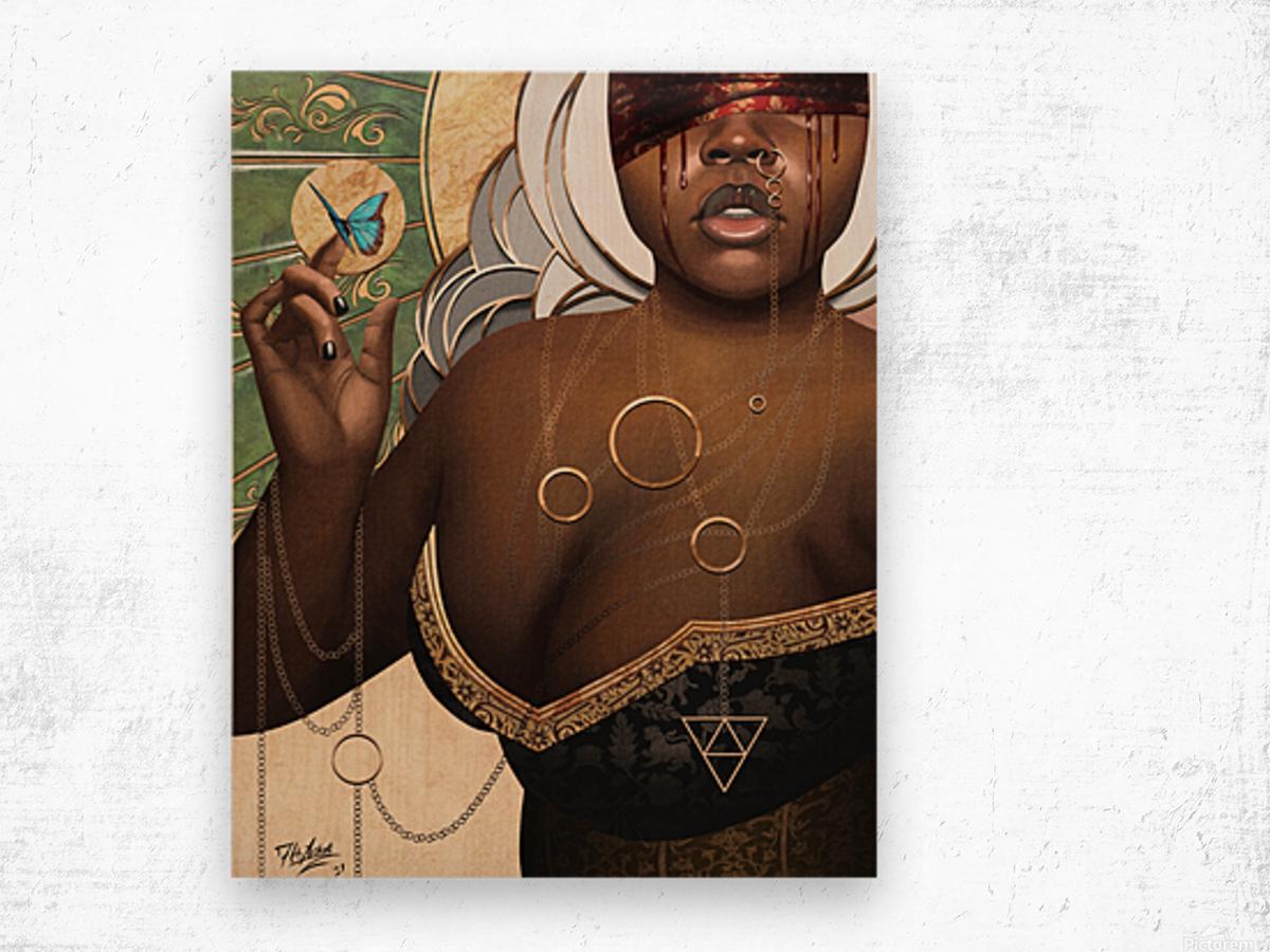 She Who Laments Wood print