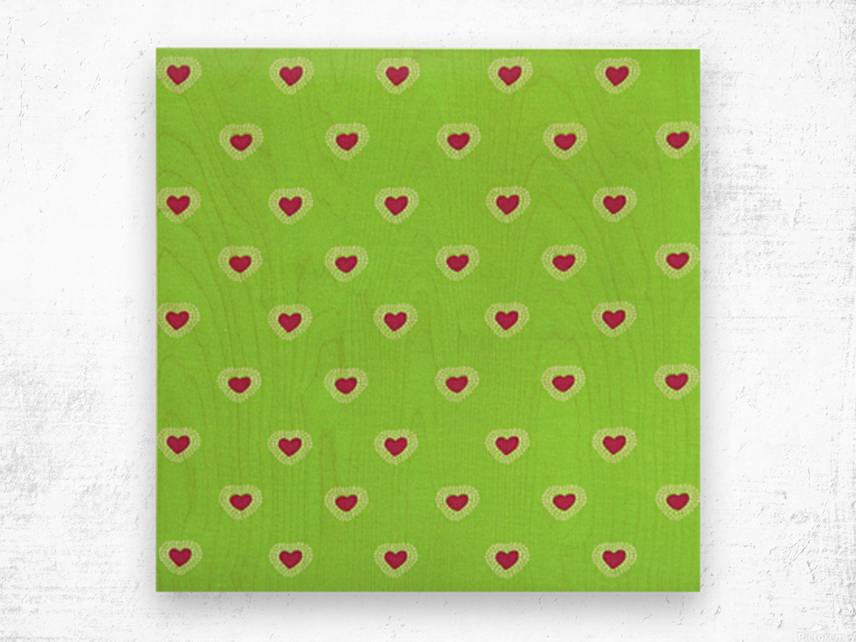 Hearts - Lime - Red Wood print