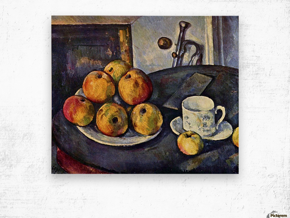 Still life with a bottle and apple cart by Cezanne Wood print