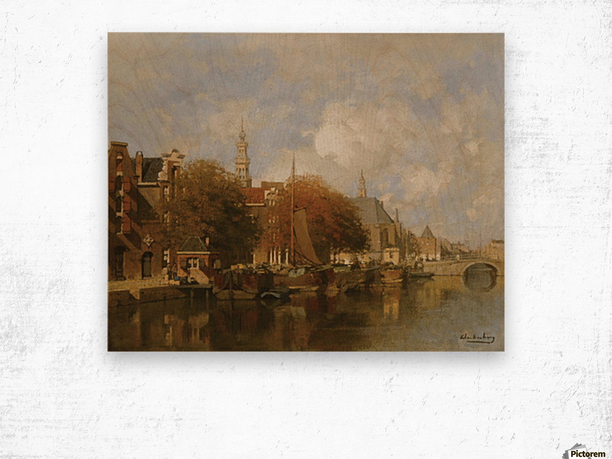 A capriccio view of the Oudezijds Voorburgwal, Amsterdam Wood print