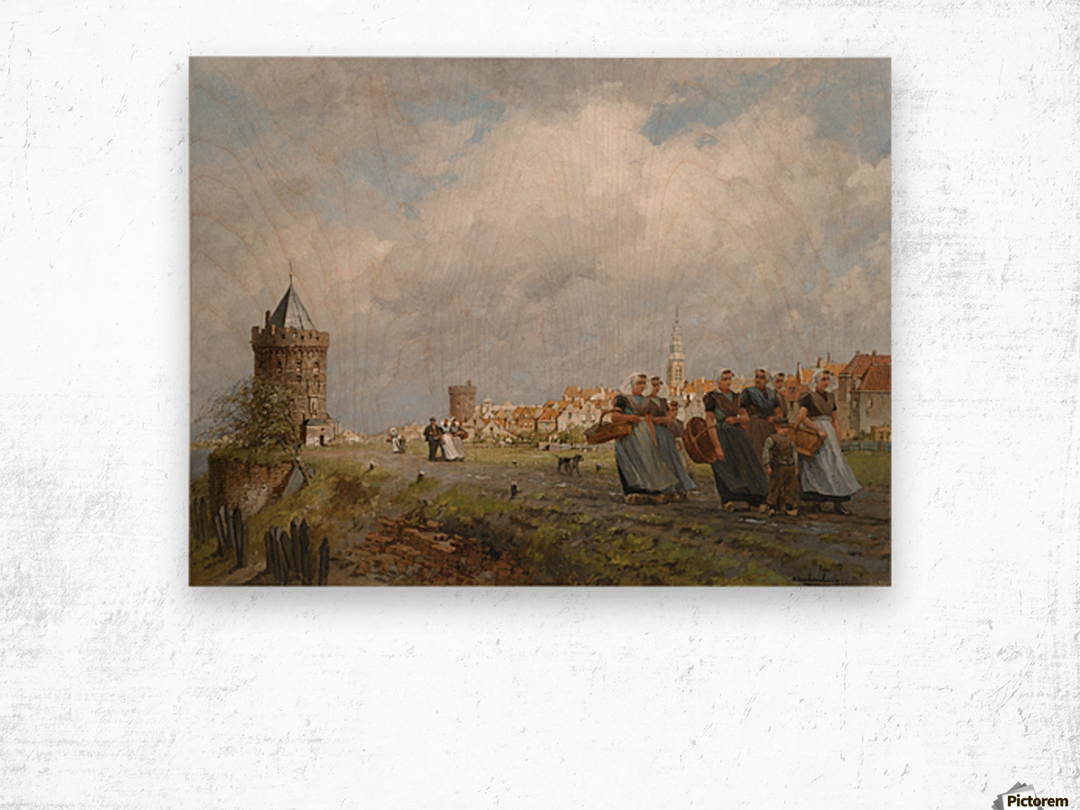 Arnemuiden Fisherwomen returning from the Market in Vlissingen Wood print