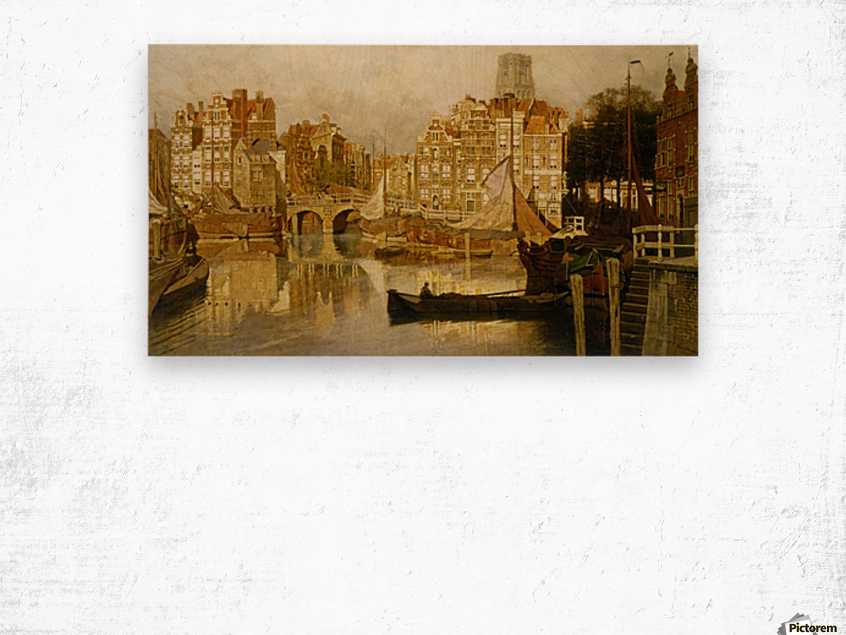 A view of the Blaak Rotterdam Wood print