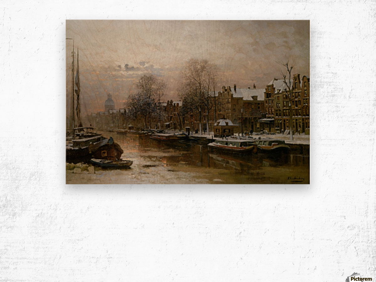Snow covered barges Wood print