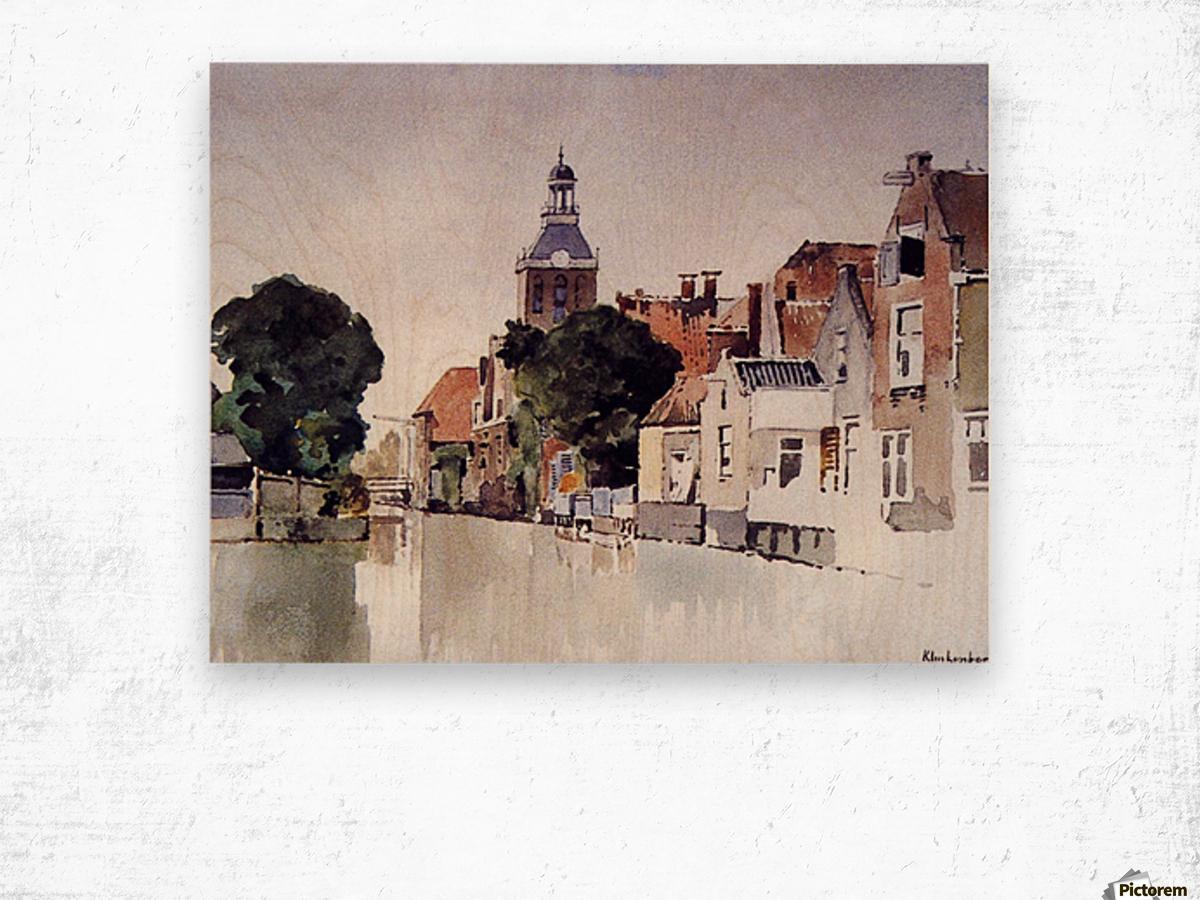 Gracht in Meppel met kerk Wood print