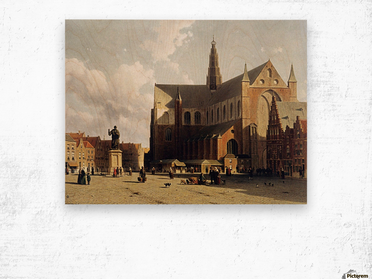 View of the Grote Markt, Haarlem, with numerous townsfolk strolling along the statue of Laurens Jansz Wood print