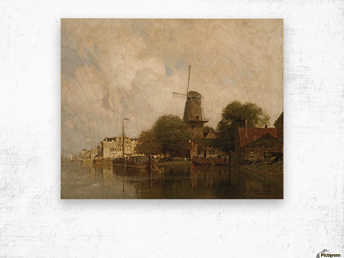 A windmill along the river Amstel, Amsterdam Wood print