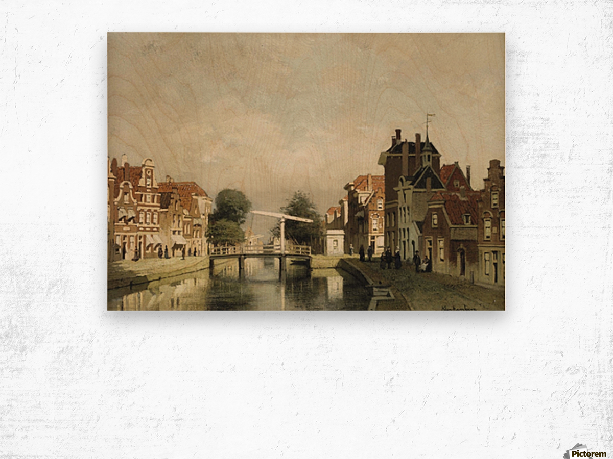 A sunlit canal with a draw-bridge Wood print
