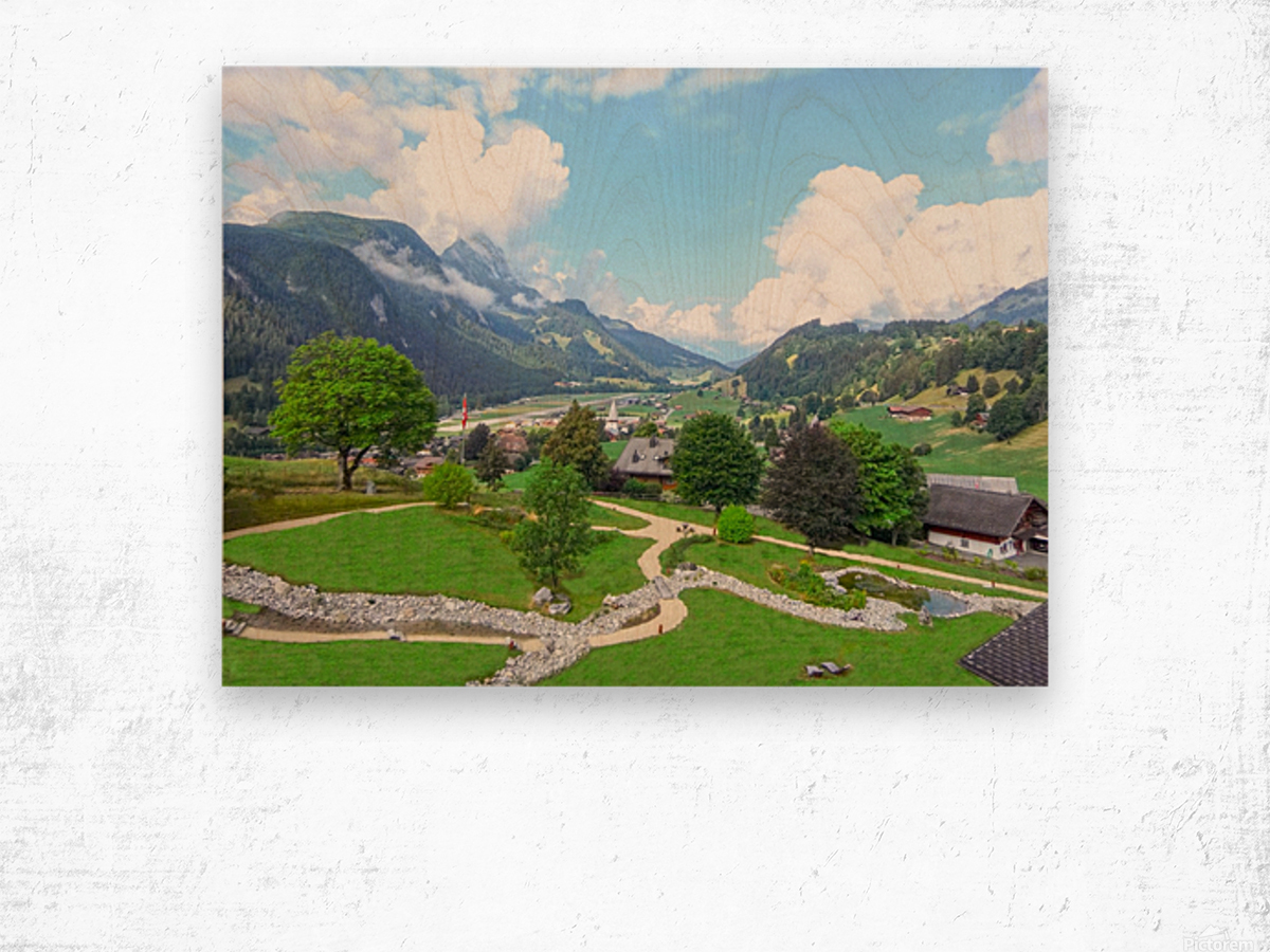 The  Saane valley in Switzerland Surrounded by the Alps Wood print