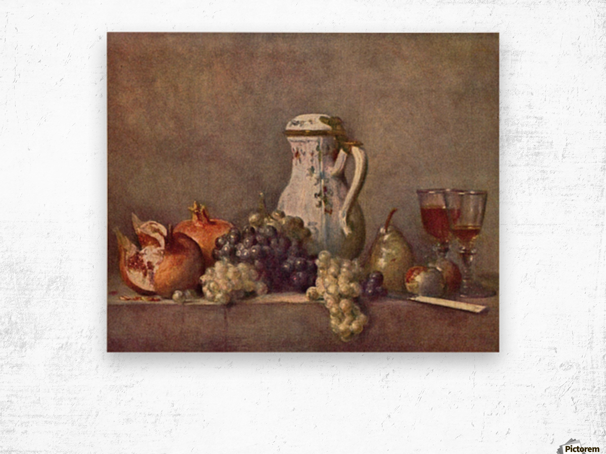 Still life with porcelain jug by Jean Chardin Wood print
