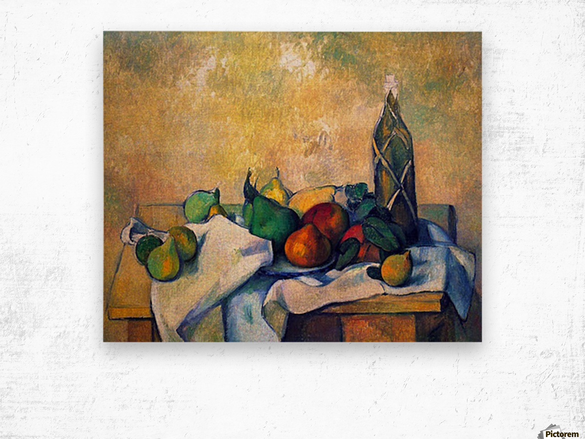 Still life, Rum by Cezanne Wood print